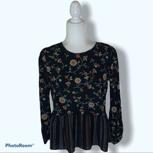 Chenault Embroidered Floral Long Sleeve Blouse